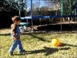 Jack & Matthew Kicking Ball In Back Yard Jan 6 2009