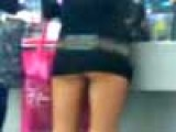 Tiny Mini Skirt Hot Chick At McDonald's