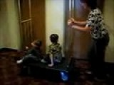 Mom Walking My Boys On Hotel Luggage