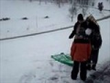 Mal And Mom Sledding