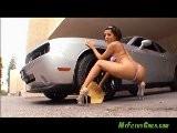 Vanessa Leon Topless Bikini Car Wash Dodge Challenger