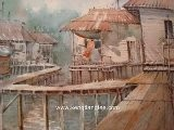 Asian Watercolor Art - Malaysian Fishing