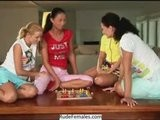 Teen Lesbians Play Lesbian Games On Table