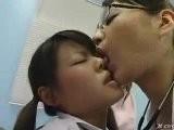 3 Japanese Lesbian Girls In Strange Kiss