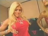 Hot WWE Diva Torrie Wilson Pushes Her Boobs Up And Together