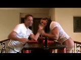 Amber DeLuca Armwrestling Weak Guy, Then Flexing