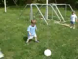 Alex & Nate Kicking Soccer- Ball