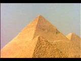 Tilt Down Of 3 Pyramids With Tallest In Middle Egypt