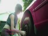 Learn Glamour Model Shows How To Work On Car