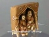 Mammoth Ivory Figurine Netsuke Couple On Bed Side H1560