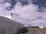 Huge Road Gap Snowboard Crash Snowboarder Comes Up Short