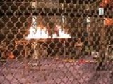 Flaming Table Inside A Steel Cage With GI HO!
