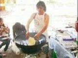 Fry Bread On Outdoor Wok